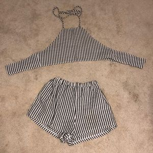 Shein Grey & White Patterned Two Piece Size Small